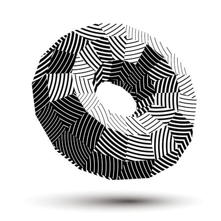 geometric shape: Objeto abstracto asim�trica a rayas blanco y negro, complicada forma geom�trica con l�neas paralelas, en escala de grises.