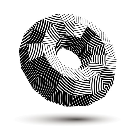 Abstract asymmetric monochrome stripy object, complicated geometric shape with parallel lines, grayscale.