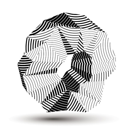 asymmetric: Geometric abstract 3D complicated striped object, monochrome asymmetric three-dimensional element isolated. Illustration
