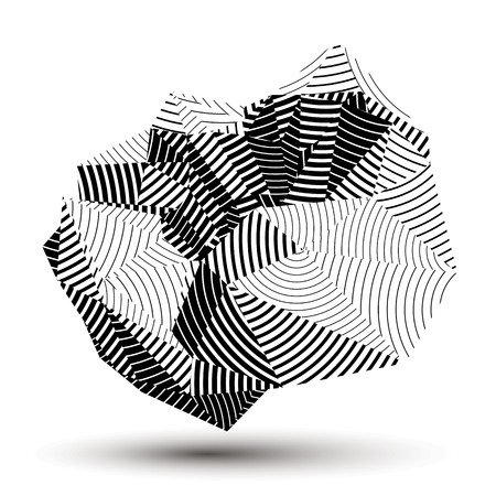 asymmetric: 3D contemporary style abstract stripy object, cybernetic futuristic form. Technology idea.