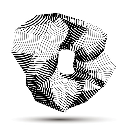 Spatial monochrome object isolated, 3d technology figure with geometric gray lines. Illustration