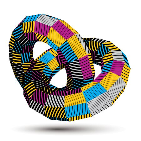 deformed: 3D abstract design object, polygonal complicated figure. Colorful three-dimensional deformed striped shape, render.