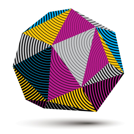 stripy: 3D modern stylish abstract stripy construction, origami facet object constructed from different geometric parts.
