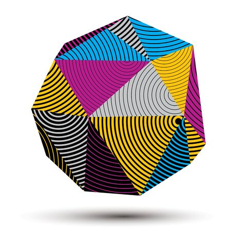 complicated: 3D abstract design object, polygonal complicated figure. Colorful three-dimensional deformed striped shape, render.