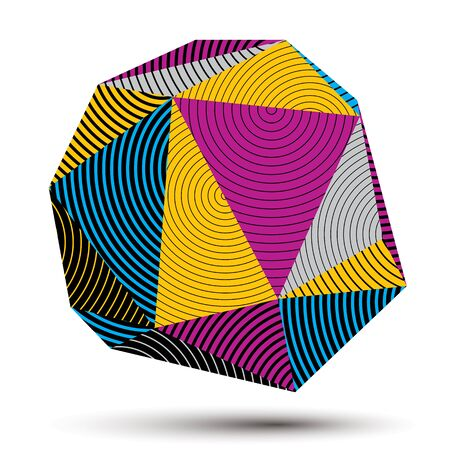 stripy: complicated 3d figure, modern digital technology style form. Abstract stripy bright three-dimensional object.