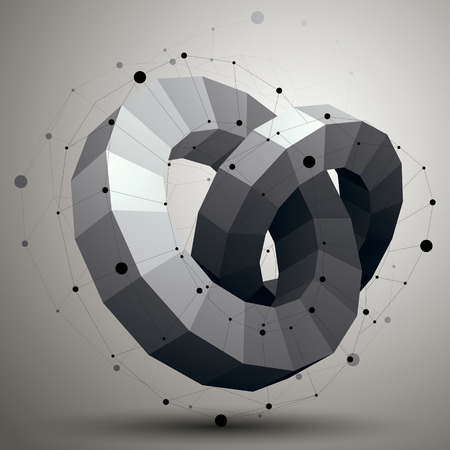 complicated: 3D abstract design object, polygonal complicated figure with lines mesh. Illustration