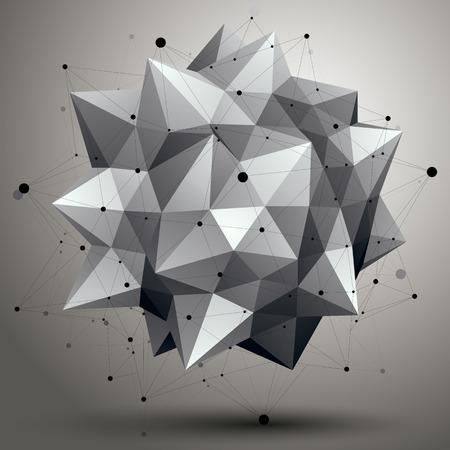abstrakce: digitální 3d abstrakce, mříž geometrický polygonální prvek, perspektiva drátěný objekt.