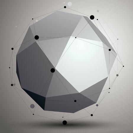 geometric shape: Monocrom�tico objeto asim�trico abstracto, forma geom�trica complicada.