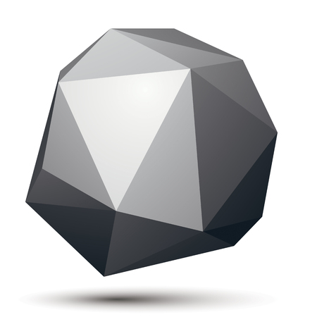 3D abstract design object, polygonal complicated figure. Grayscale three-dimensional deformed shape, render.