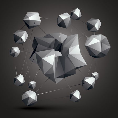modeling: Asymmetric 3D abstract object, monochrome geometric spatial form. Render and modeling. Complicated construction