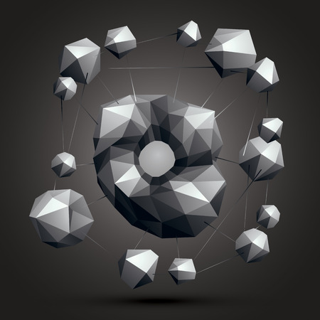 spatial: Spatial monochrome object isolated, 3d technology figure with geometric gray elements.