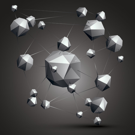complicated: Complicated abstract grayscale 3D shapes, digital object. Technology theme.