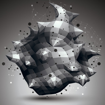 complicated: Geometric abstract 3D complicated lattice object, single color asymmetric element with wireframe structure. Illustration