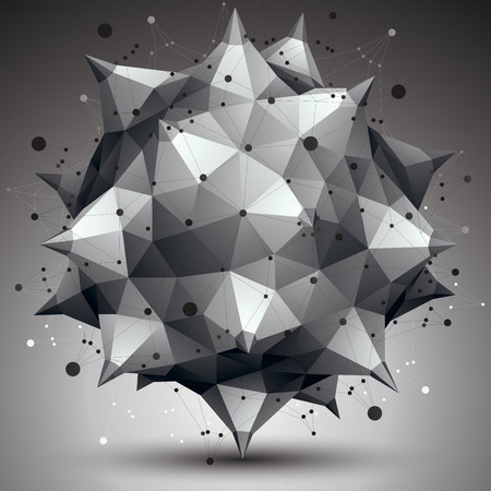 spatial: Spatial monochrome digital object, 3d technology figure with geometric elements and wireframe.