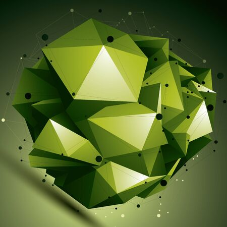 complicated: Abstract asymmetric bright object with lines mesh, complicated geometric shape. Illustration