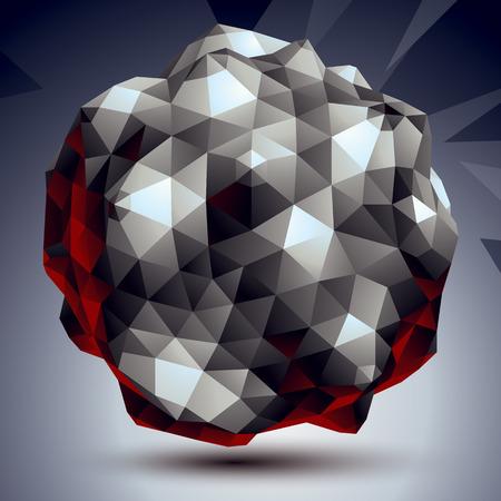 asymmetric: Asymmetric 3D abstract object, monochrome geometric spatial form Illustration