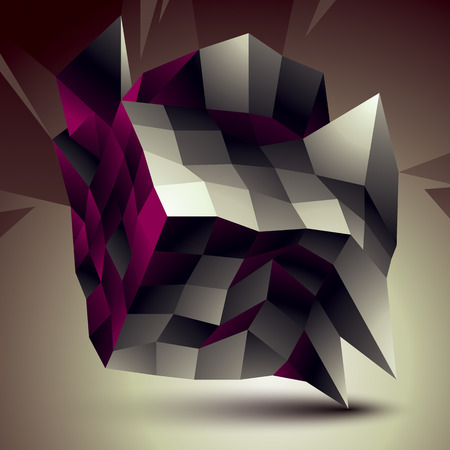 complicated: 3D abstract design object, polygonal complicated figure Illustration