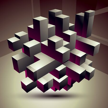 3D modern stylish abstract construction, origami facet object constructed from different geometric parts.