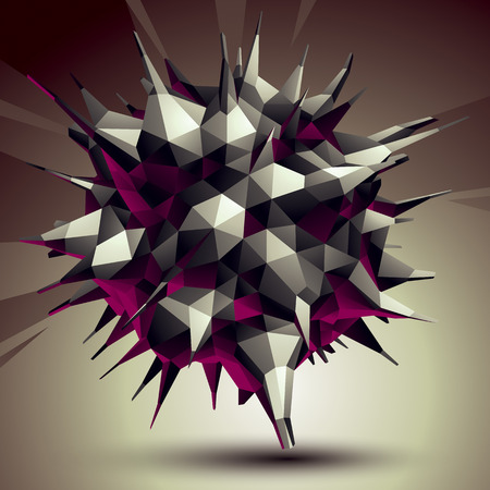Asymmetric 3D abstract object, monochrome geometric spatial form Illustration