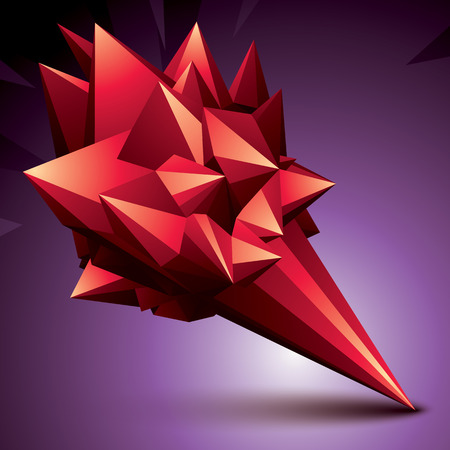 vertex: Asymmetric 3D abstract object, red geometric spatial form Illustration