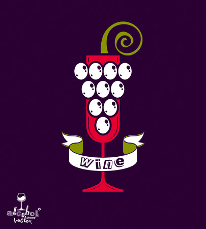 revelry: Winery idea illustration. Elegant glass of wine with grapes vine and decorative ribbon