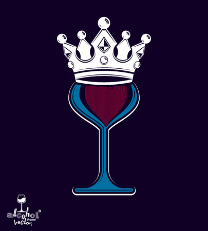 Sophisticated luxury wineglass with king crown, graphic artistic goblet