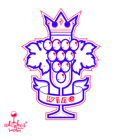 sparkling wine: Sparkling wine illustration. Stylized empty wineglass with grape vine and royal crown Illustration