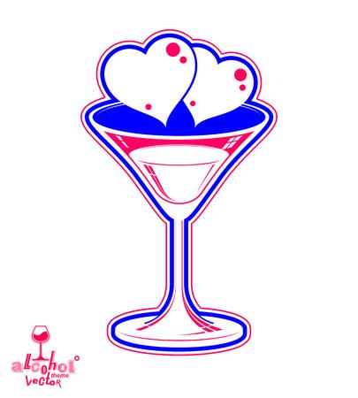 copa martini: D�a de San Valent�n Ejemplo festivo, vidrio de martini con dos corazones amorosos