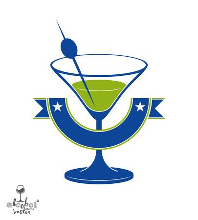 copa martini: Vidrio de Martini con la baya de oliva y cinta decorativa, el alcohol y el entretenimiento tema de la ilustraci�n Vectores