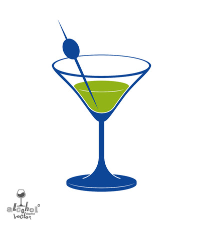 martini glass: Martini glass with olive berry, alcohol and entertainment theme illustration