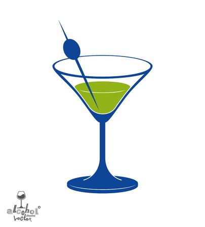copa martini: Vidrio de Martini con la baya de oliva, el alcohol y el entretenimiento tema de la ilustración