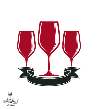revelry: Bright classic goblets set with creative red ribbon, party and celebration theme illustration Illustration