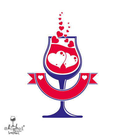 loving: art illustration of simple wineglass with two loving hearts