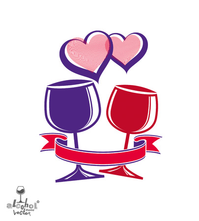 wineglasses: Two wineglasses artistic illustration %u2013 wedding couple conceptual graphic object