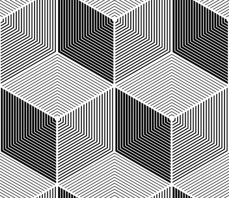 splice: Regular contrast endless pattern with intertwine three-dimensional figures, continuous illusory geometric background. Illustration