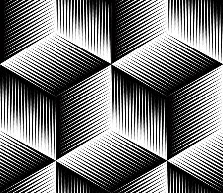 黒と白の幻抽象的な幾何学的なシームレスな 3 d パターン