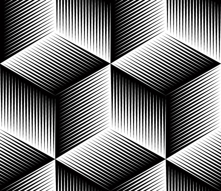 Black and white illusive abstract geometric seamless 3d pattern Vectores
