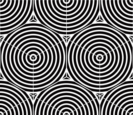 Contrast black and white symmetric seamless pattern with interweave figures