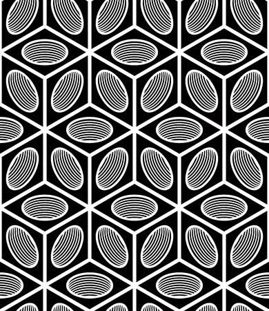 illusory: Contraste Regular patr�n sin fin de Intertwine figuras tridimensionales, fondo geom�trico ilusoria continua. Vectores
