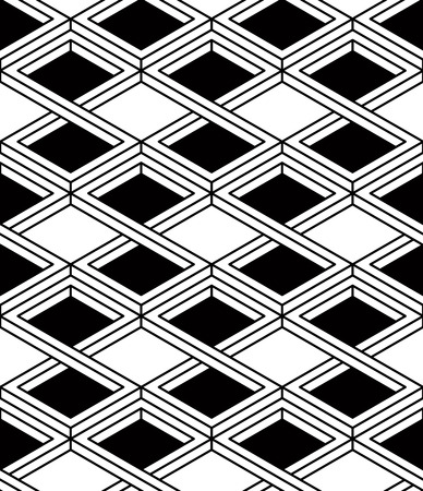 splice: Black and white illusive abstract geometric seamless 3d pattern Illustration