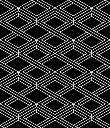 Monochrome illusory abstract geometric seamless pattern with 3d geometric figures Illustration
