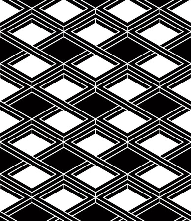 entwine: Illusive continuous monochrome pattern, decorative abstract background with 3d geometric figures Illustration