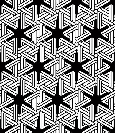 Graphic seamless abstract pattern, regular geometric black and white 3d background