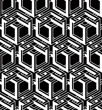 interlace: Monochrome illusory abstract geometric seamless pattern with 3d geometric figures Illustration