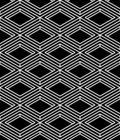 intertwine: Illusive continuous monochrome pattern, decorative abstract background with 3d geometric figures Illustration