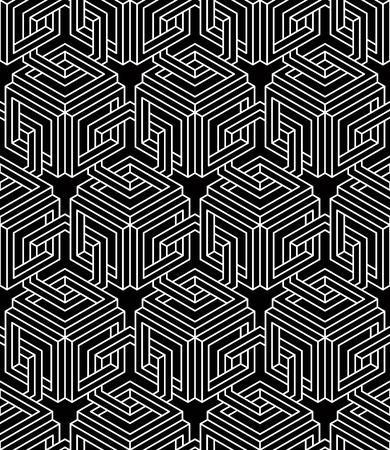 splice: Seamless optical ornamental pattern with three-dimensional geometric figures.