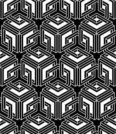 intertwine: Endless monochrome symmetric pattern, graphic design Illustration