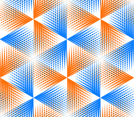 illusory: Bright illusory abstract geometric seamless pattern with 3d geometric figures