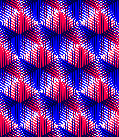 entwine: Colorful illusive abstract geometric seamless 3d pattern with transparency effects