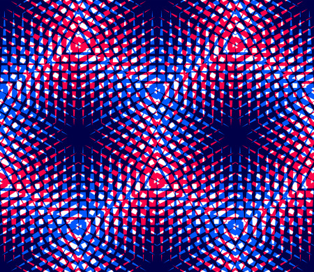 illusory: Regular colorful endless pattern with intertwine three-dimensional figures, continuous illusory geometric background
